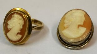 A 9ct Gold Cameo Ring, Stamped 375, overall weight 3.9 grams, also with a white metal mounted