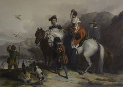 """After Sir Edward Landseer R.A (English 1802-1873) """"Hawking Party"""" Colour Lithograph, 58 x 85cm, in a"""
