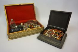 A Quantity of Costume Jewellery & Beads, Contained in a Anglo Indian sandalwood and mother of