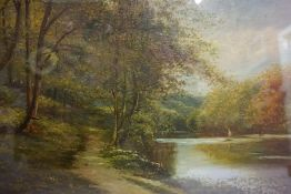 """Scottish School (Early 20th century) """"Fishing on the Tweed"""" Oil on Canvas, indistinctly signed and"""