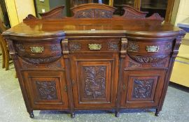 A Victorian Style Mahogany Sideboard, with a pediment above a shaped top, and three small drawers