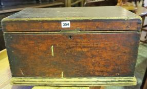 A Victorian Pine Tool Box, In the form of a blanket chest, 30cm high, 53cm wide, 30cm deep