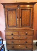 A George III Oak Linen Press on Chest, circa late 18th/early 19th century, the top section having