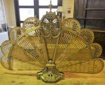 A Vintage Brass Fan Fire Screen, 69cm high, 97cm wide