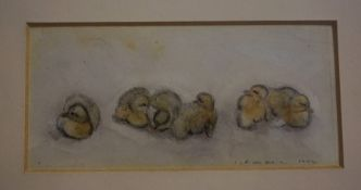 """Irene Leslie Main (Scottish born 1958) """"Ducklings"""" Pencil and Wash, signed and dated 1992 to lower"""