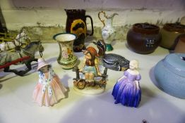 A Small Lot of Royal Doulton Porcelain, to include figures Marie and Lily, also with a glazed