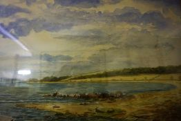 """British School 19th Century """"River & Landscape Scene"""" Watercolour, Monogrammed with initial A and"""