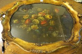 A Victorian Papier Mache Tea Tray, Probably by B.Walton & Co Old Hall Wolverhampton, of shaped