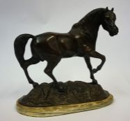 A Cast Bronze Figure of a Horse, signed indistinctly to moulded base, 33cm high
