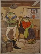 """""""Frog He Would a Wooing Go"""" Satirical Print, 24 x 8cm, framed"""