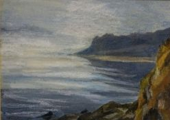 "Perpetua Pope RSW (Scottish 1916-2013) ""Mist on Islay"" Watercolour, signed lower left, 17 x 24cm,"