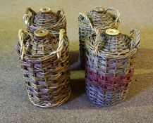 Four Stoneware One Gallon Flagons, all with woven wicker covers, (4)