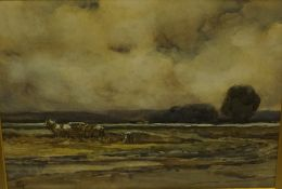 "John Campbell Mitchell RSA (British 1865-1922) ""Farming Scene with Figure & Horse"", Watercolour,"