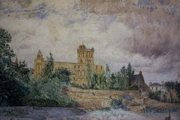 "Scottish School ""Jedburgh Abbey"" Watercolour, Unsigned, 25 x 33cm, framed"