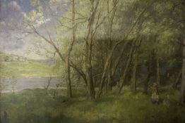 """British School """"Child Walking in Woods"""" Oil on Canvas, indistinctly signed to lower right, 33.5 x"""