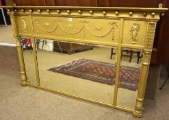 A Regency Gilt Wood and Gesso Tri Plate Overmantel Mirror, circa early 19th century, Decorated