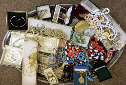 A Large Quantity of Costume Jewellery, On a silver plated tray,