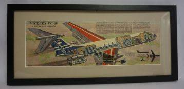 "L Ashwell Wood ""Vickers VC-10"" Colour Cutaway, From the Eagle comic, issue 2nd July 1960, signed"