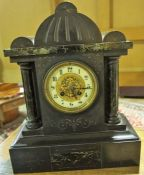 A Victorian Black Slate Mantel Clock, Decorated with marble Corinthian style pillars, with a twin