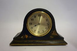 A Blue Japanned Mantel Clock, circa early 20th century, 15cm high
