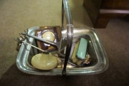 A Mixed Lot of Collectables, To include a travel clock in an alligator case, Art Deco silver and
