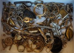 A Mixed Lot of Yellow Metal and Assorted Scrap Jewellery, To include watch straps, rings, T-bar etc