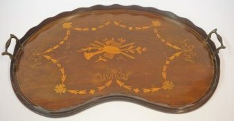 A Georgian Style Mahogany Inlaid Kidney Shaped Serving Tray, Decorated with inlaid swag panels and
