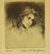"Arthur William Heintzelman (American 1891-1965) ""Portrait of a Girl"" Limited Edition Black & White"