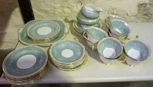 "An Aynsley ""Rosewood"" Pattern China Tea Set, to include biscuit plates, cups and saucers, 39 pieces"