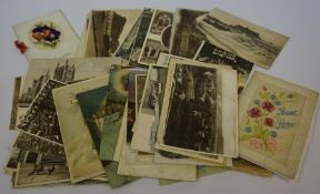 A Small Lot of Postcards, circa early 20th century, approximately 49 in total, also with a book of