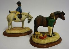 "Two Border Fine Arts Figure Groups ""Well Groomed"" ""Around the World"", From the Hay Days range, 12,"