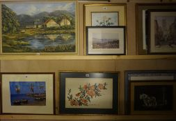 A Quantity of Prints and Pictures, To include a large landscape oil, floral prints etc, (13)
