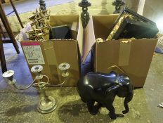 Two Boxes of Various Sundry Ornaments & Bric a Brac, to include a pair of plated candleabra and a