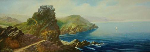 "Roland Stead ""Castle Rock Devon"" Watercolour, signed lower left, 26 x 77cm, framed"