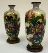 A Pair of Small Japanese Cloisonne Vases, Meiji period, Decorated with colourful floral panels, with