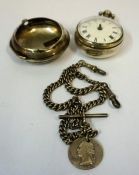 A Regency Silver Pair Cased Key Wind Pocket Watch, Hallmarks for London 1819, stamped with