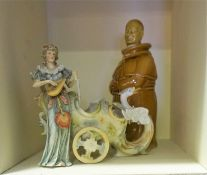 A Mixed Lot of Porcelain & Crystal, to include a Continental figural comport, with blue crossed