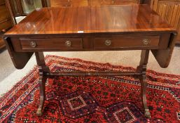 A Good Quality Reproduction Mahogany Sofa Table, with two drawers and opposing dummy drawers, with a
