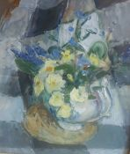 """Margaret Thomas (1916-2016) """"Primroses"""" Oil on Board, 33.5 x 29cm, old catalogue label dated 1980 to"""