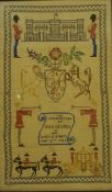 Two George VI Coronation Samplers, 60 x 34cm and 60 x 39cm, both in rosewood frames, (2)