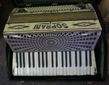 "A Soprani ""Three"" Piano Accordion, Decorated in faux mother of pearl, with carry case"