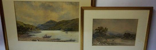 "Scottish School "" Highland Cattle"" & ""Loch Scene"" Watercolours, Unsigned, 20 x 30cm, 30 x 43cm,"