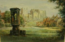"""Frank Watson Wood (British 1862-1953) """"Bamburgh Castle"""" Watercolour, signed Watson Wood to lower"""