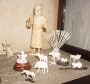 A Mixed Lot of Antique Ivory Figures, To include a large Japanese figure of a male, 19cm high,