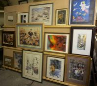 A Large Quantity of Assorted Prints & Pictures, to include some signed Continental pictures, a print