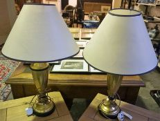 A Pair of Contemporary Brass Effect Table Lamps by Chelsom, 50cm high, with shades, fitted for