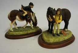 "Two Border Fine Arts Figure Groups ""Im Hungry"" ""Glad Your Mine"", From the Hay Days range, 11, 12cm"