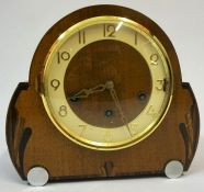 An Art Deco Walnut Mantel Clock, circa 1930s, with label for Clock Case Factory London to inside