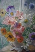 """Mary Ethel Hunter (1878-1936) """"Still Life of Flowers In a Jug"""" Oil on Board, signed lower left, 46 x"""