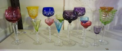 A Mixed Lot of Bohemian Style Harlequin Coloured Cut Crystal Hock & Liqueur Glasses, (14)